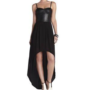 BCBG Black Faux Leather Hi Lo Strapless Dress